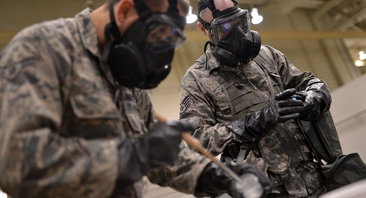 Airmen Conduct Sample Testing During CBRN Exercise