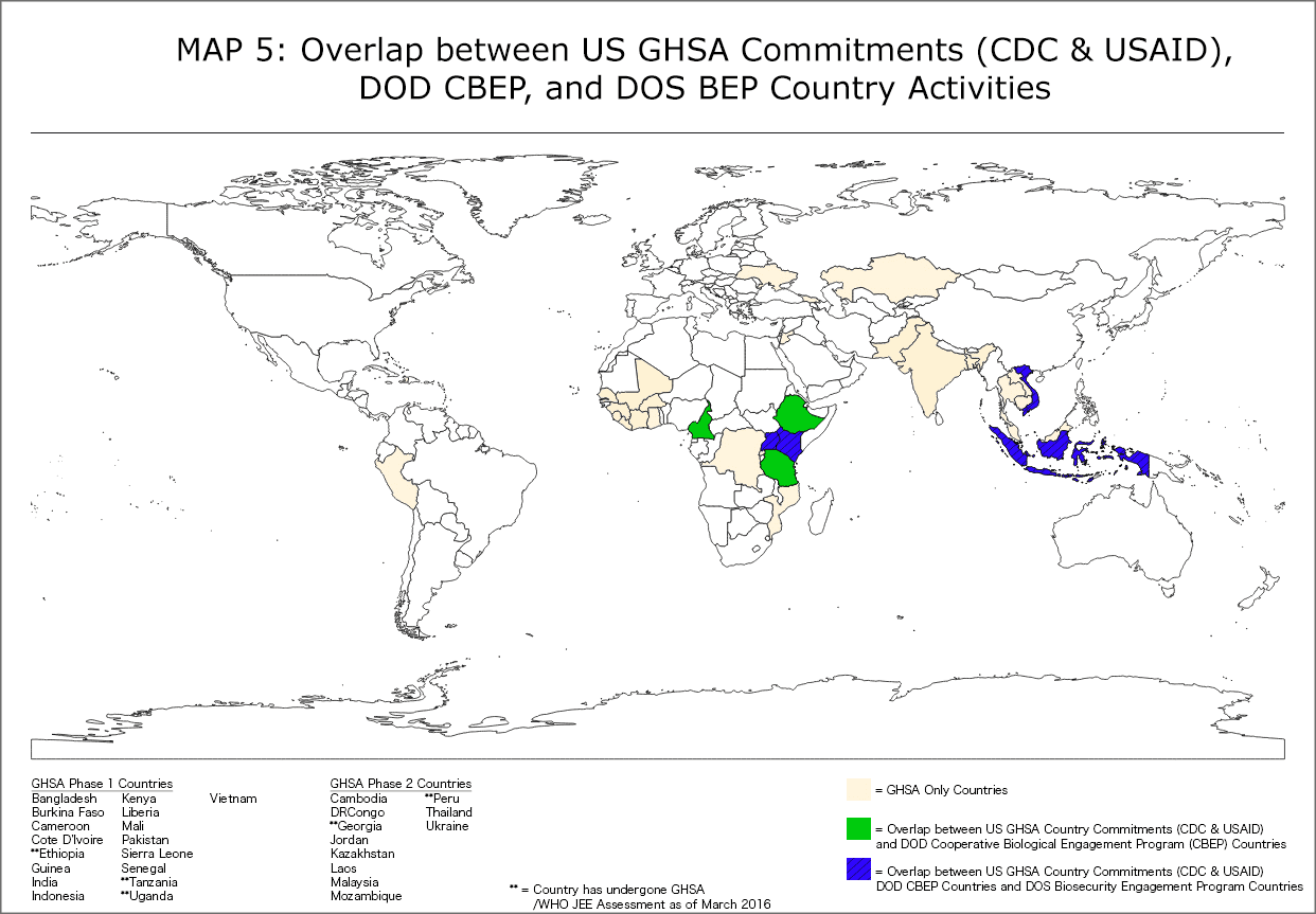 Map of GHSA, Biosecurity Engagement Program and CBEP overlap