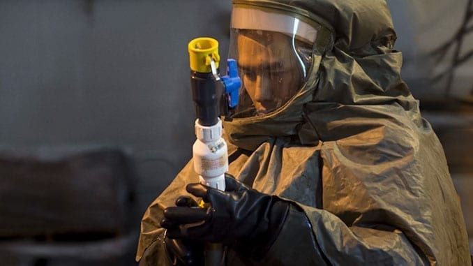 USAF Personnel Prep Staging Area for Patient Decontamination Ops