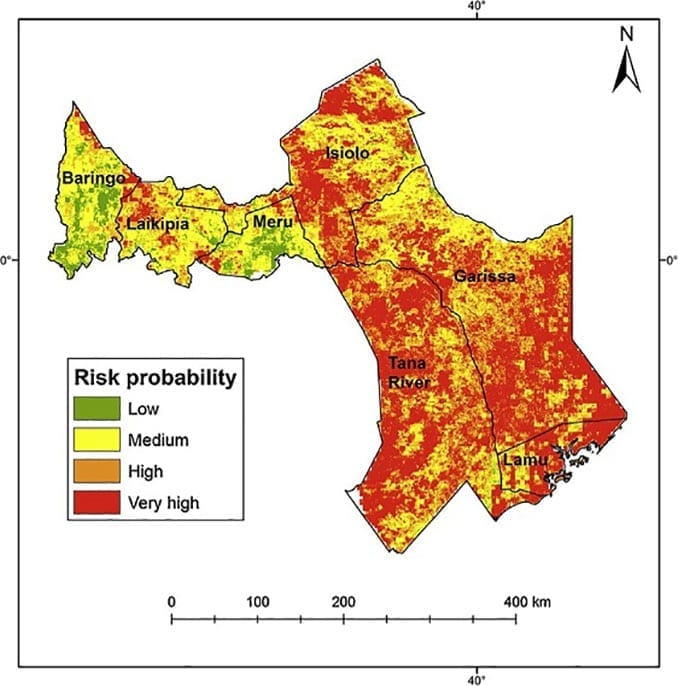 Researchers have developed Rift Valley fever risk zone maps. This map shows risk distribution in districts of central and southern Kenya (Map by Mosomtai)