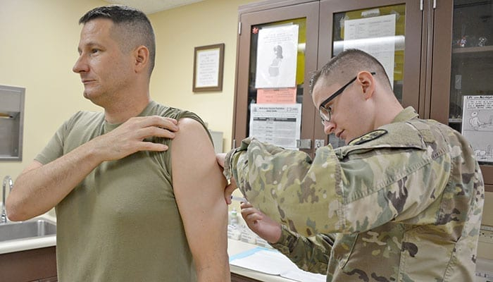 Servicemember Receives MMR - Measles, Mumps and Rubella Vaccine