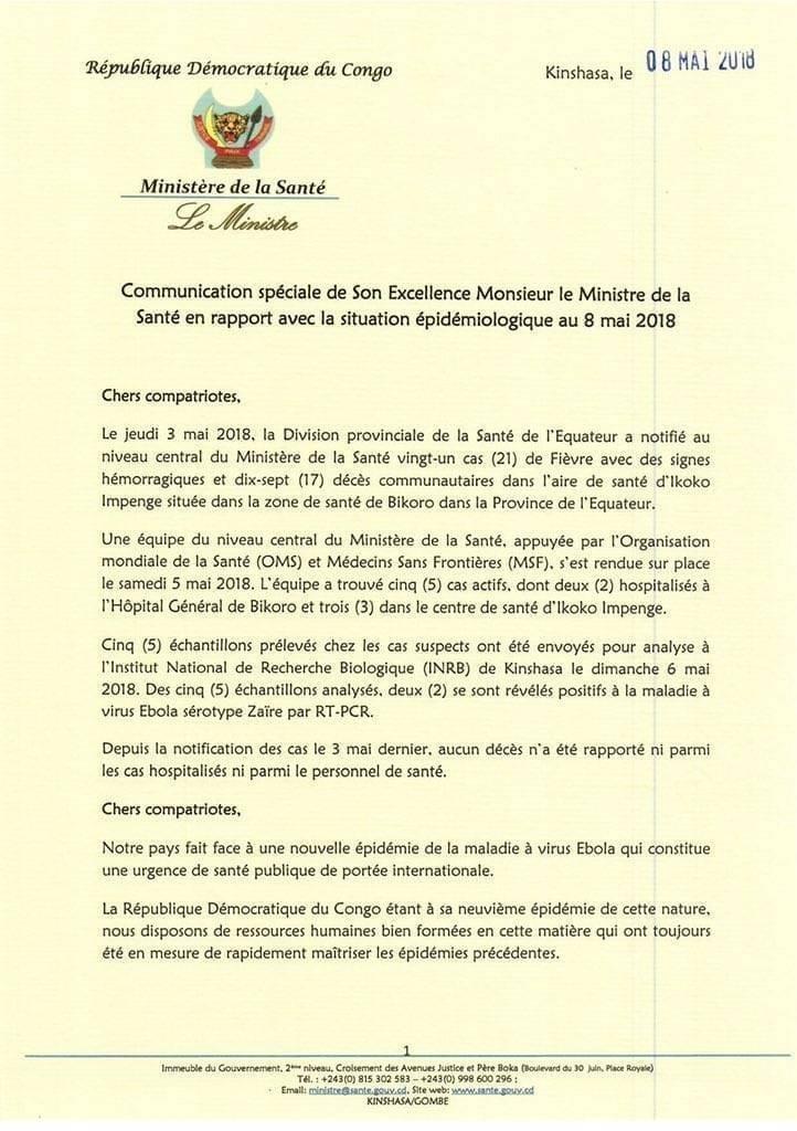 Democratic Republic of the Congo Health Ministry Ebola Statement