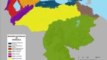 Map of Venezuela Natural Regions