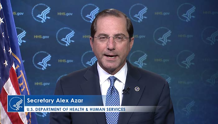 HHS Secretary Alex Azar delivers remarks to the GHSA audience