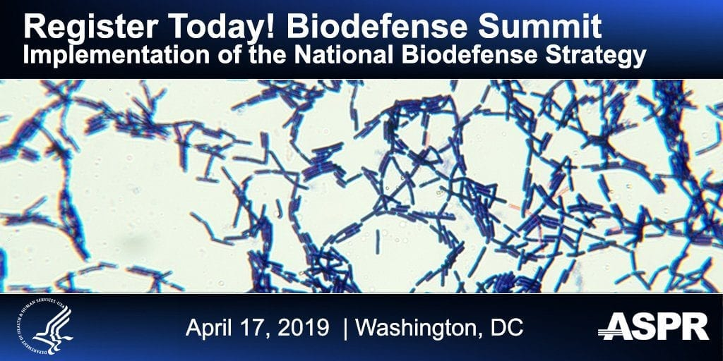 Banner with text asking you to Register Today! Biodefense Summit in Washington DC. Picture of bacteria and logo from U.S. Health and Human Services department.