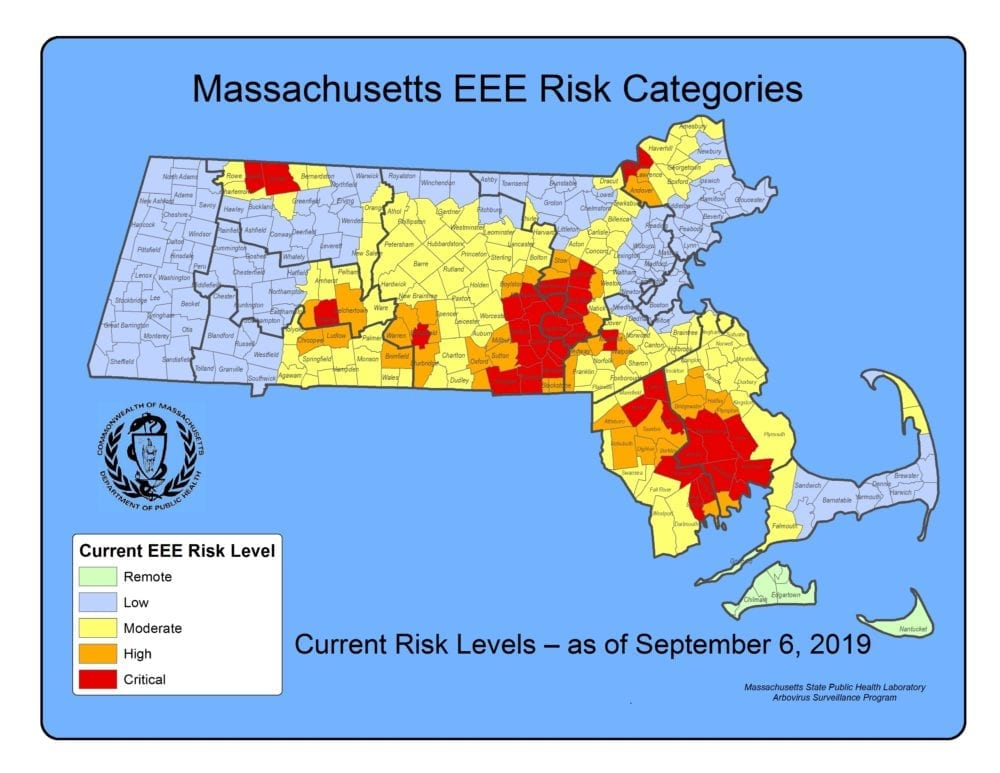 Map of Massachusetts with mosquito risk zone highlights
