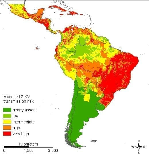 Map of Central and South America showing very high risk of Zika transmission in Brazil, Caribbean, and most of Central America, with high risk in most of the populated areas of the hemisphere, excepting Argentina, Uruguay and Chile