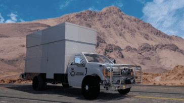 Large vehicle trailer on road - inside is mobile laboratory
