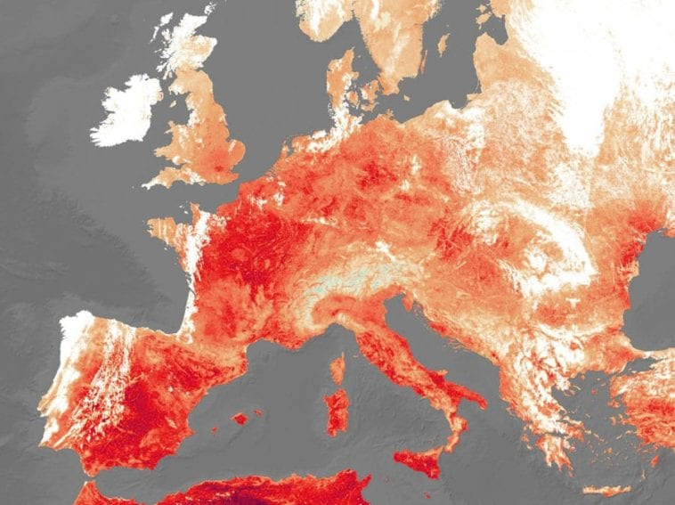 Outline of Europe with hotspots