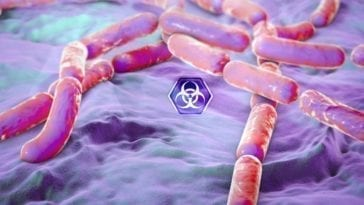 bacteria with a biohazard symbol overlay