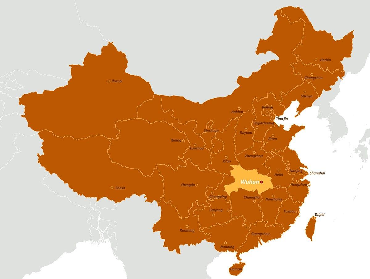 corona virus wuhan map