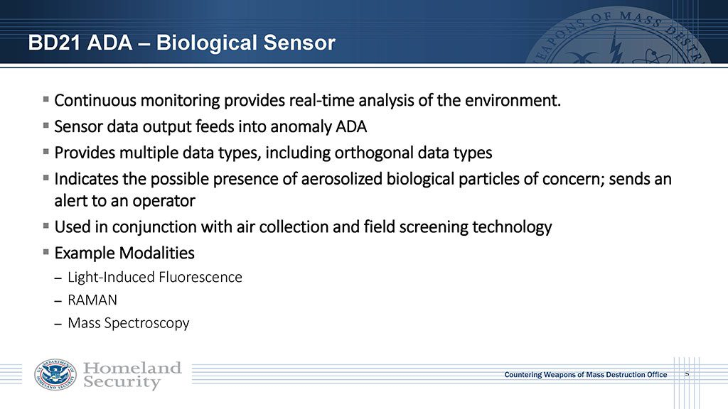 Continuous monitoring provides real-time analysis of the environment. Sensor data feeds into anomaly detector. Used in conjunction with air collection and field screening technology. Example modalities: Light-induced Florescence, RAMAN, Mass Spec