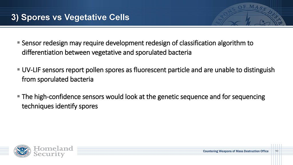 Sensor redesign may require development redesign of classification algorithm to differentiate between vegetative and sporulated bacteria. UV-LIF sensors report pollen spores as fluorescent particle and are unable to distinguish from sporulated bacteria. High-confidence sensors would look at the genetic sequence and for sequencing techniques identify spores