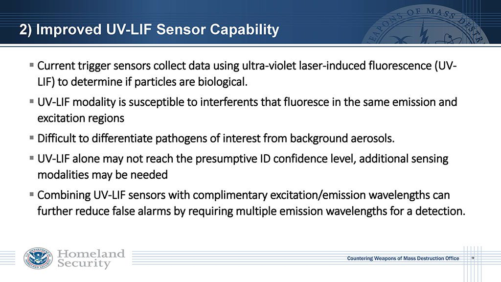Current trigger sensors collect data using ultra-violet laser-induced fluorescence (UV-LIF) to determine if particles are biological. UV-LIF is susceptible to interferents that fluoresce in the same emission and excitation regions. Difficult to differentiate pathogens of interest from background pathogens. Combining UV-LIF sensors with complimentary excitation/emission wavelengths can further reduce false alarms by requiring multiple emission wavelengths for detection
